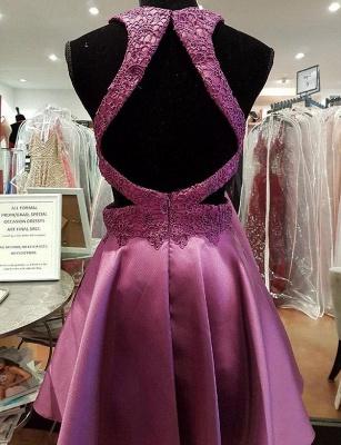 Modern Flattering A-line Appliques Jewel Elegant Lace Sleeveless Short Homecoming Dress_3
