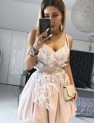 Unique Flattering A-line Appliques Spaghetti Straps Short Prom Dress UK on sale_1