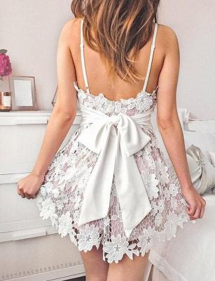 Homecoming New Lace Spaghetti Straps Bowknot Mini Flattering Elegant Prom Dress Online | Suzhoudress UK_3