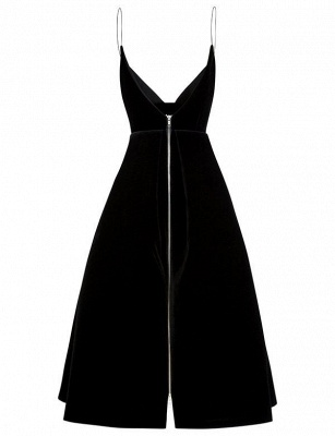 Simple Flattering A-line Zipper Spaghetti Straps Tea-Length Homecoming Dress_4