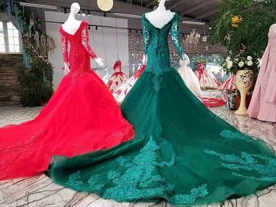 Mermaid Sparkly Beaded Chapel Train Long Sleeves Tulle Applique Prom Dress UK on sale_4