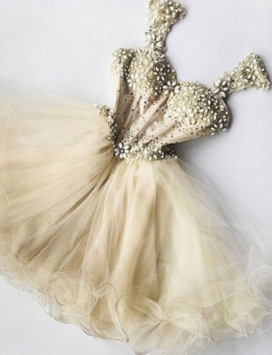 Stunning Straps Flattering A-line Sparkly Beaded Tulle Short Prom Homecoming Dress_1