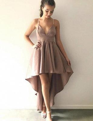 Stunning Spaghetti Straps Trendy V-neck Flattering High Low Elegant Prom Dress Online | Suzhoudress UK_1
