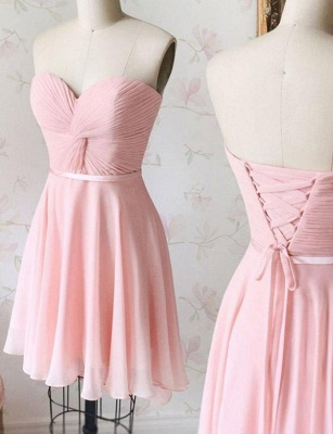 Flattering Lace Romantic strapless Lace-up Short Elegant Prom Dress Online | Suzhoudress UK_1