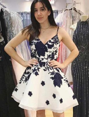 Fashion Flattering A-line Floral Print Spaghetti Straps Short Homecoming Dress_1