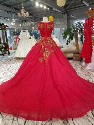 Sparkly Beaded Applique Round Neck Short Sleeves Flattering A-line Court Train Prom Dress UK on sale_2