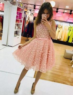 Cute Flattering A-line Appliques Jewel Sleeveless Short Homecoming Dress_1