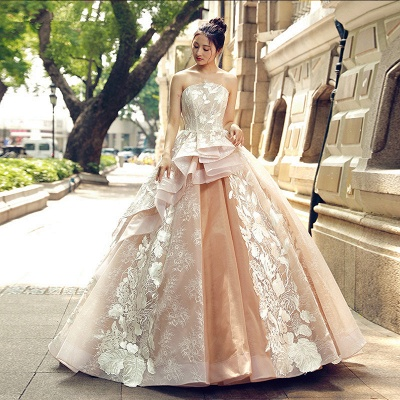 Applique Organza Strapless Ball Gown Sweep Train Prom Dress UK on sale_1