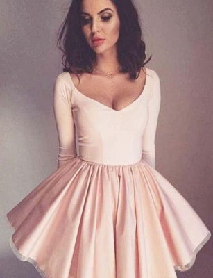 Fashion Flattering A-line Long Sleeves V-Neck Short Homecoming Dress_1