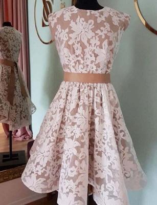 Glamorous Jewel Flattering A-line Elegant Lace Cap Sleeves Short Prom Dress UK on sale_1