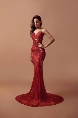 Red Lace Beading Prom Dresses Sleeveless Mermaid Sexy Evening Gowns_1