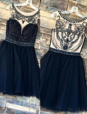 Fashion Sparkly Beaded Sleeveless Jewel Tulle Flattering A-line Short Prom Homecoming Dress_1