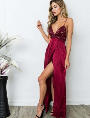 Gorgeous Spaghett-Straps Burgundy Prom Dress Long Sequins Evening Gowns_6