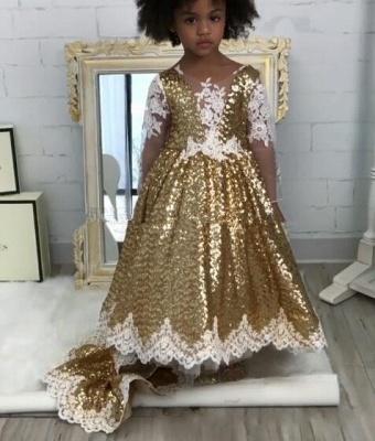 Gold Sparkly Sequins Girl Applique Round Neck Court Train Pageant Dress | Suzhoudress UK_5
