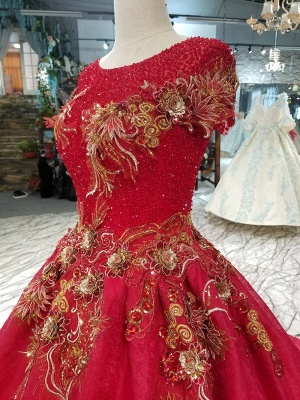 Sparkly Beaded Applique Round Neck Short Sleeves Flattering A-line Court Train Prom Dress UK on sale_6
