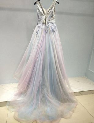 Stunning Flattering with Lace Appliques Spaghetti Straps Soft Tulle Long-Length Elegant Prom Dress Online | Suzhoudress UK_3