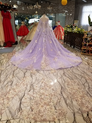 Ball Gown Spaghetti Straps Long Sleeves Court Train Applique Prom Dress UK on sale_5
