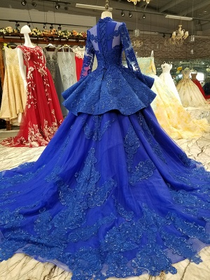 Long Sleeves Ball Gown Applique Tulle Sparkly Beaded Court Train Prom Dress UK on sale_4