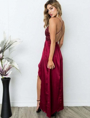 Gorgeous Spaghett-Straps Burgundy Prom Dress Long Sequins Evening Gowns_7