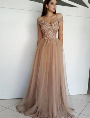 Luxury with Lace Appliques Flattering Soft Tulle Off-the-Shoulder Long-Length Evening Dress   Suzhoudress UK_1