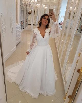 Fashion Long Sleeves Beading Tulle A-Line Flower Online Prom Dress Sale | Suzhoudress UK_3