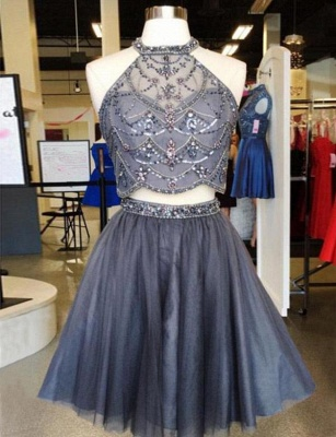 Two Piece Sparkly Beaded Flattering A-line Sleeveless Jewel Short Homecoming Dress_1