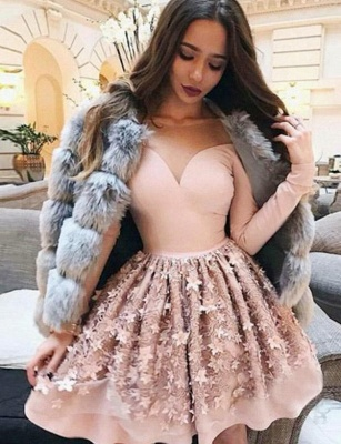 Unique Appliques Long Sleeves Jewel Flattering A-line Short Homecoming Dress_1