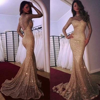 Mermaid High Neck Long Sleeves Sparkly Sequins Court Train Evening Dresses | Suzhoudress UK_3
