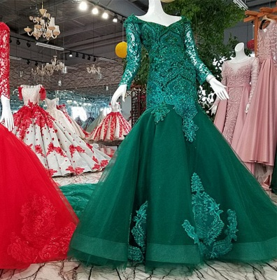 Mermaid Sparkly Beaded Chapel Train Long Sleeves Tulle Applique Prom Dress UK on sale_1
