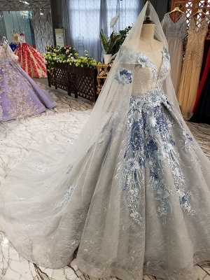 Round Neck Organza Applique Ball Gown Short Sleeves Prom Dress UK on sale_6