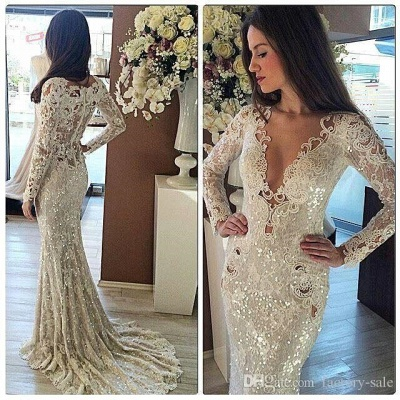 Womens V-Neck Long Sleeves Sequined Sexy Trumpet/Mermaid Appliques Online Prom Dress Sale | Suzhoudress UK_1