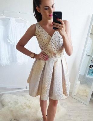 Fashion Sleeveless Flattering A-line Sparkly Beaded V-Neck Short Prom Dress UK on sale_1