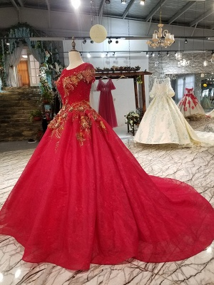 Sparkly Beaded Applique Round Neck Short Sleeves Flattering A-line Court Train Prom Dress UK on sale_4