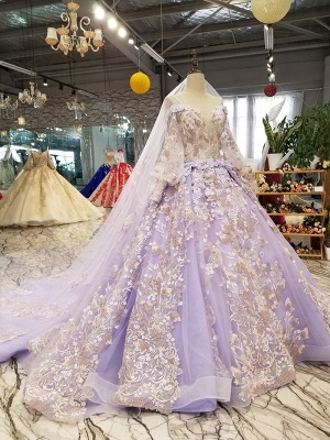 Ball Gown Spaghetti Straps Long Sleeves Court Train Applique Prom Dress UK on sale_4
