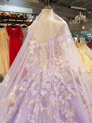 Ball Gown Spaghetti Straps Long Sleeves Court Train Applique Prom Dress UK on sale_7