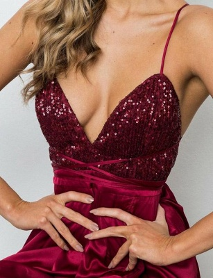 Gorgeous Spaghett-Straps Burgundy Prom Dress Long Sequins Evening Gowns_5
