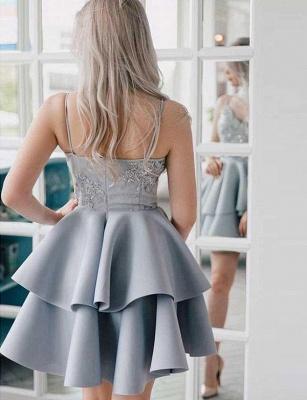 Fashion Flattering A-line Appliques Spaghetti Straps Short Homecoming Dress_3