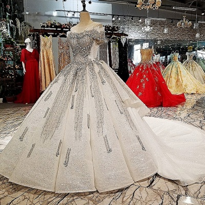 Organza Applique Ball Gown Chapel Train Short Sleeves Prom Dress UK on sale_1
