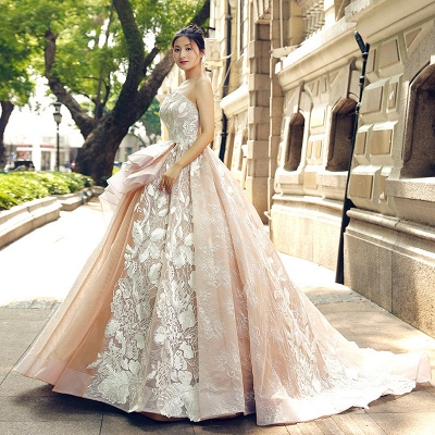 Applique Organza Strapless Ball Gown Sweep Train Prom Dress UK on sale_4