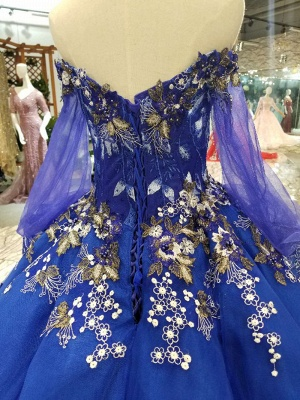 Off-the-Shoulder Long Sleeves Ball Gown Tulle Applique Court Train Prom Dress UK on sale_7