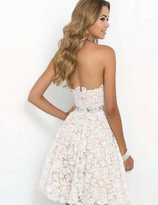 Fashion Different Sweetheart Flattering A-line Elegant Lace Flower Short Prom Homecoming Dress_3