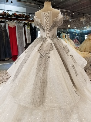 Organza Applique Ball Gown Chapel Train Short Sleeves Prom Dress UK on sale_6