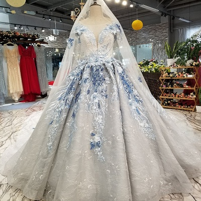Round Neck Organza Applique Ball Gown Short Sleeves Prom Dress UK on sale_1