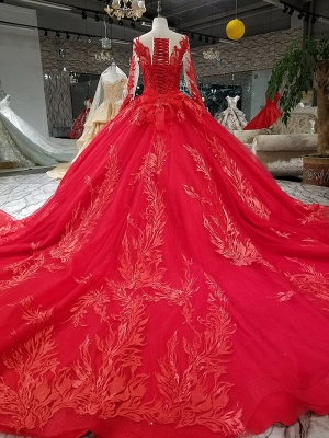 Ball Gown Long Sleeves Bow Applique Tulle Flattering A-line Round Neck Prom Dress UK on sale_4