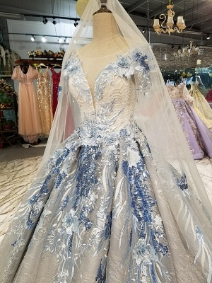 Round Neck Organza Applique Ball Gown Short Sleeves Prom Dress UK on sale_2