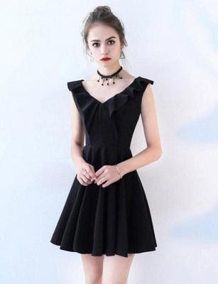 Simple Sleeveless Flattering A-line Straps V-Neck Short Prom Homecoming Dress_1
