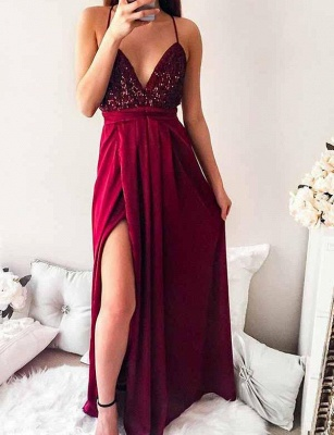 Gorgeous Spaghett-Straps Burgundy Prom Dress Long Sequins Evening Gowns_8