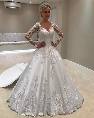 Chic Long Sleeves Satin V-Neck Applique Wedding Dresses   Bridal Gowns Online_1