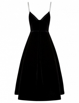 Simple Flattering A-line Zipper Spaghetti Straps Tea-Length Homecoming Dress_1