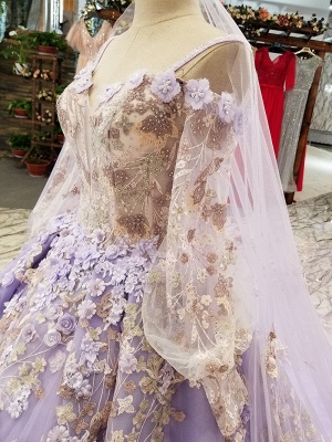 Ball Gown Spaghetti Straps Long Sleeves Court Train Applique Prom Dress UK on sale_6